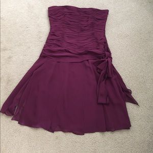 Strapless wine colored cocktail dress